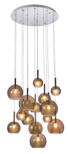 Pietnastopunktowa Přívěsek lampa Glamour Bellezia chrom / měď G4 20W