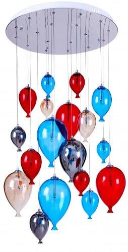 Osmbodová dětská závěsná lampa - Balón vícebarevný 160cm / 60cm 18xG4 20W