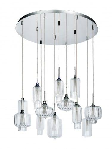 Dvanáctibodová přívěsná lampa Larissa chrom / transparentní G9 28W