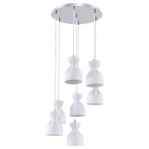 Siedmiopunktowa Lampa wisząca w stylu skandynawskim Noelle chrom/ biały E14 40W