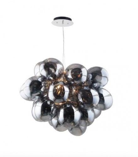 Pomysłowa Lampa wisząca Hroznový chrom / šedá / průhledná G9 28W
