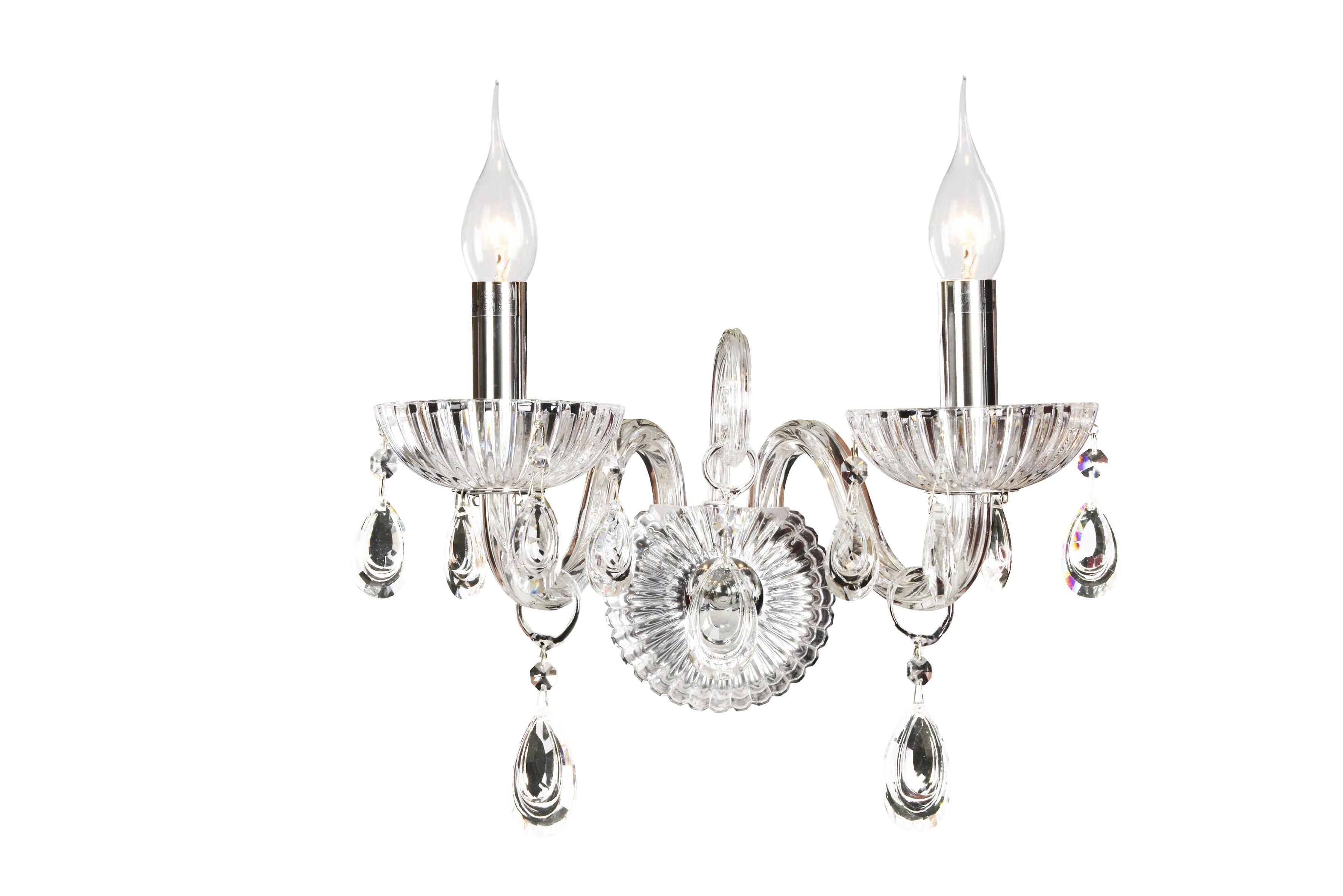Dvojitá nástěnná lampa Queen transparentní E14 40W