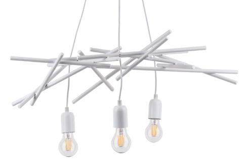 Trzypunktowa loftowa Lampa wisząca Glenn biały E27 60W
