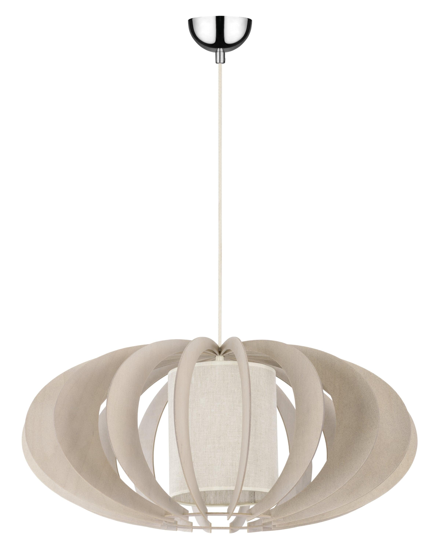 Rustikální přívěsek lampa Keiko brzoza bielona / krém E27 60W