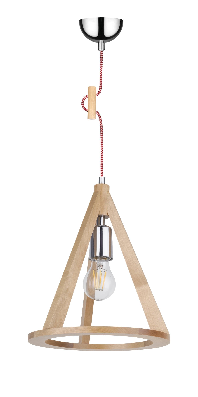 Lampa wisząca brzoza / chrom / červená a bílá E27 60W