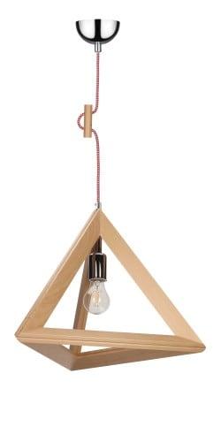 Lampa wisząca Trigonon buk/chrom/czerwono-biały E27 60W