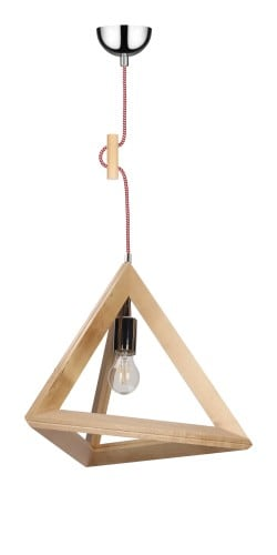 Lampa wisząca Trigonon brzoza/chrom/czerwono-biały E27 60W