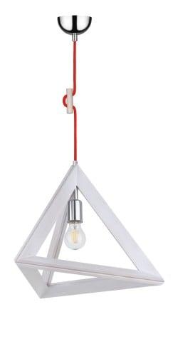 Lampa wisząca Trigonon dąb bielony/chrom/czerwony E27 60W