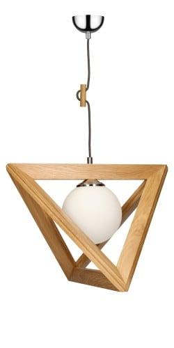 Osobliwa Lampa wisząca Trigonon dąb/chrom/antracyt E27 60W