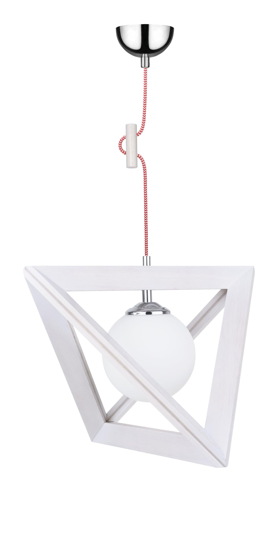 Závěsná svítilna Trigonon dąb bielony / chrom / červená a bílá E27 60W