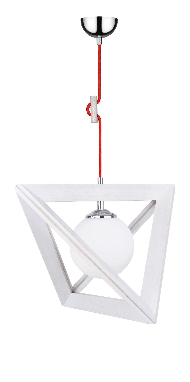 Závěsná svítilna Trigonon dąb bielony / chrom / červená E27 60W