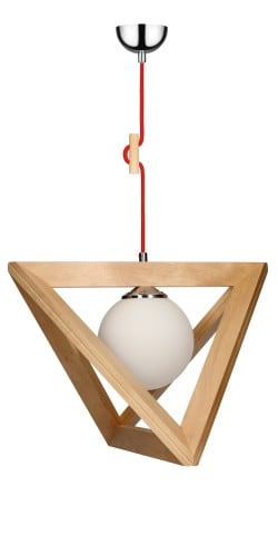 Lampa wisząca Trigonon brzoza/chrom/czerwony E27 60W