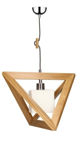 Trójkątna Lampa wisząca Trigonon dąb/chrom/antracyt E27 60W