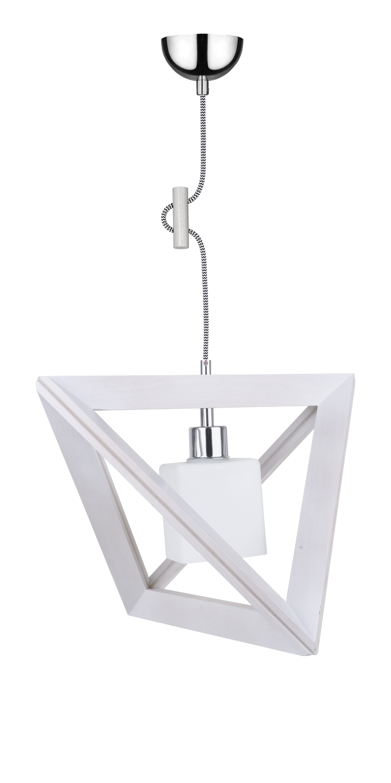 Lampa wisząca Sześcian Trigonon dąb bielony / chrom / černá a bílá E27 60W