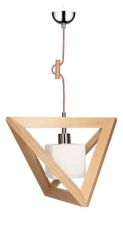 Průmyslové dřevěné závěsné svítidlo TRIGONON