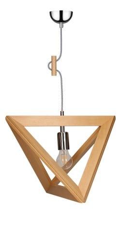 Lampa wisząca Trigonon buk/chrom/czarno-biały E27 60W