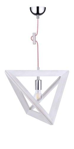 Lampa wisząca Trigonon dąb bielony/chrom/czerwono-biały E27 60W