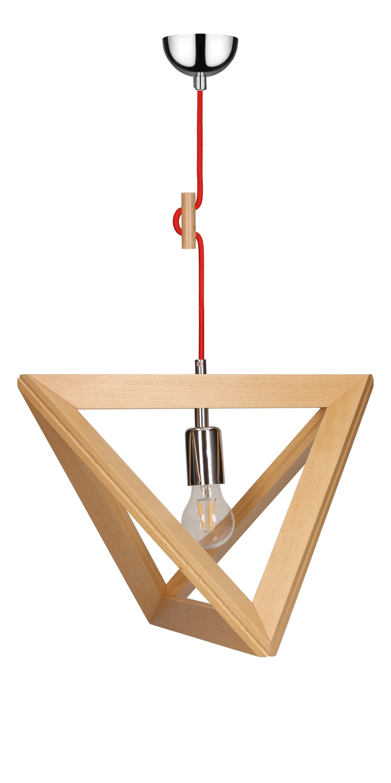 Závěsná svítilna Trigonon buk / chrom / červená E27 60W