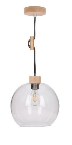 Závěsná svítilna transparentní Svea buk / antracit E27 60W