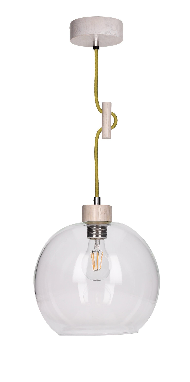 Závěsná svítilna Svea bílá / olivová E27 60W dub