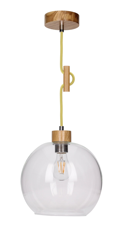Závěsná svítilna Svea dub / olivový E27 60W