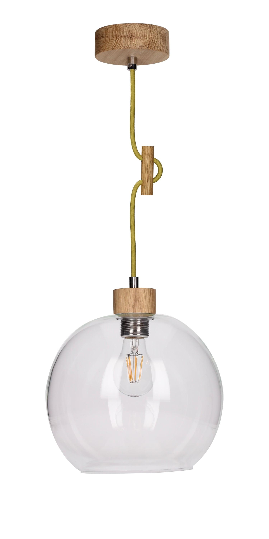 Závěsná lampa transparentní Svea olejovaný dub / olivový E27 60W