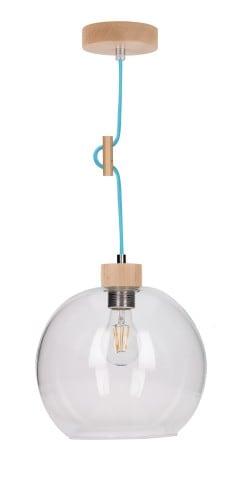 Lampa wisząca Przeźroczysta Svea buk/petrol E27 60W