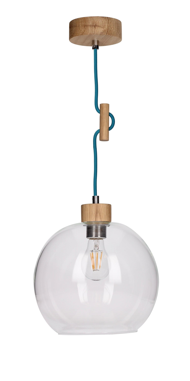 Závěsná svítilna transparentní Svea olejovaný dub / benzín E27 60W