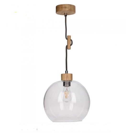 Závěsná lampa Glass Svea naolejovaný dub / černá a bílá E27 60W