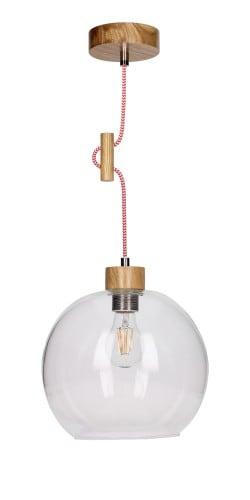 Závěsná svítilna Svea dub / červená a bílá E27 60W