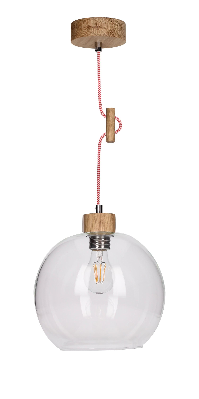 Závěsná svítilna Svea dub naolejovaná / červená a bílá E27 60W