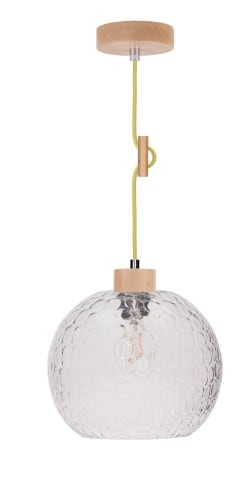 Závěsná lampa s ozdobným kabelem Svea. Rozptyl buk / olivový E27 60W