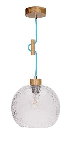 Závěsná lampa Disipative Svea dub / petrol E27 60W
