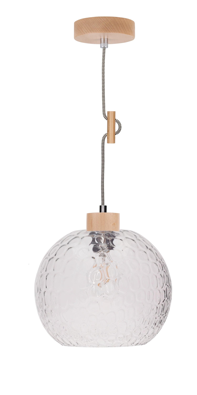 Závěsné dřevěné závěsné svítidlo se skleněným difuzorem Svea buk / černá a bílá E27 60W