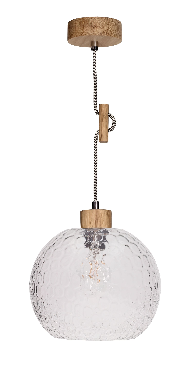 Závěsná lampa Disipative Svea olejovaný dub / černá a bílá E27 60W