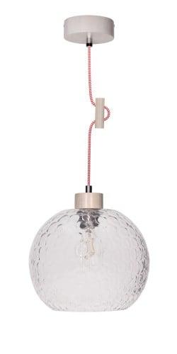 Závěsná lampa Disipative Svea bělený dub / červená a bílá E27 60W