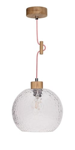 Závěsná lampa na rozptyl skla Svea naolejovaný dub / červená a bílá E27 60W