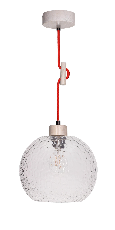 Závěsná svítilna Svea dąb bielony / czerwony E27 60W