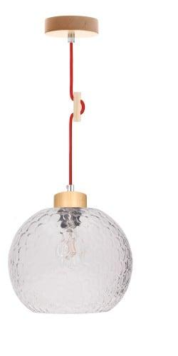 Lampa wisząca Svea brzoza/czerwony E27 60W