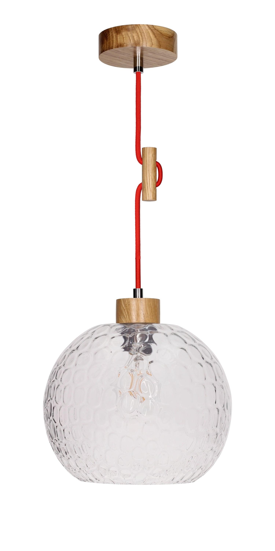 Závěsná svítilna Svea dub / červená E27 60W