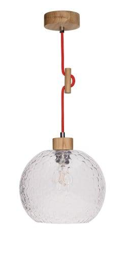 Závěsná svítilna Svea dubová olejovaná / červená E27 60W