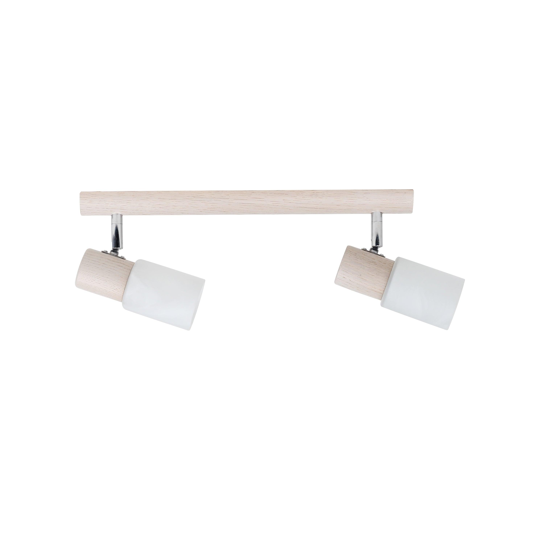 Dvojitý proužek Kira Dřevěný dub bělený / chrom / bílý E14 40W