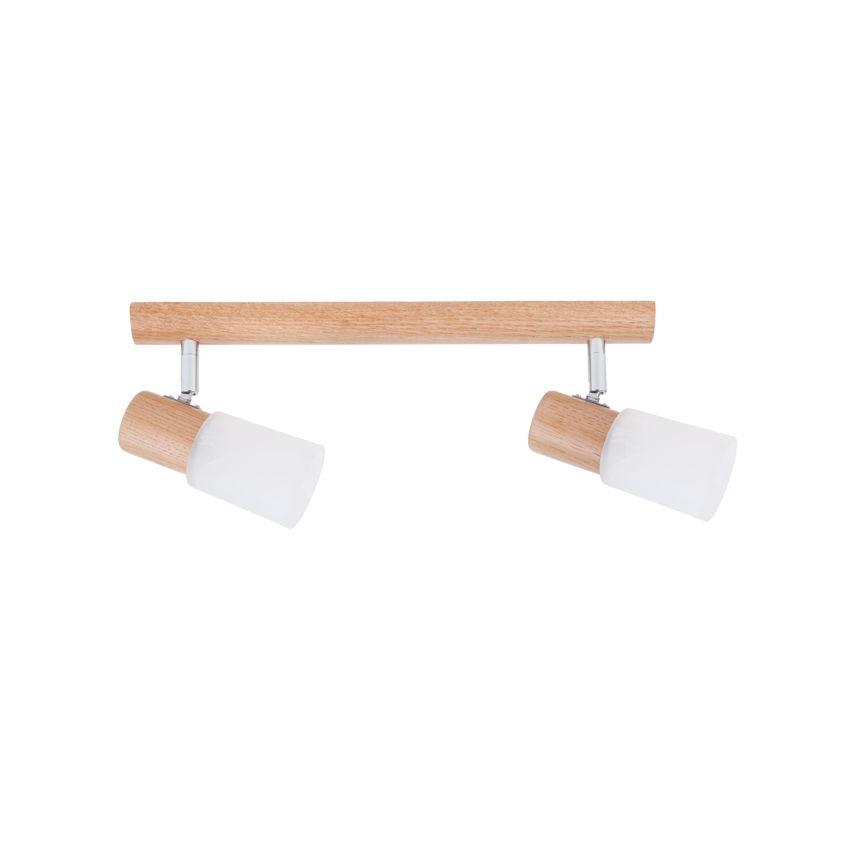 Dvojitý proužek Kira Dřevěný dub / chrom / bílý E14 40W