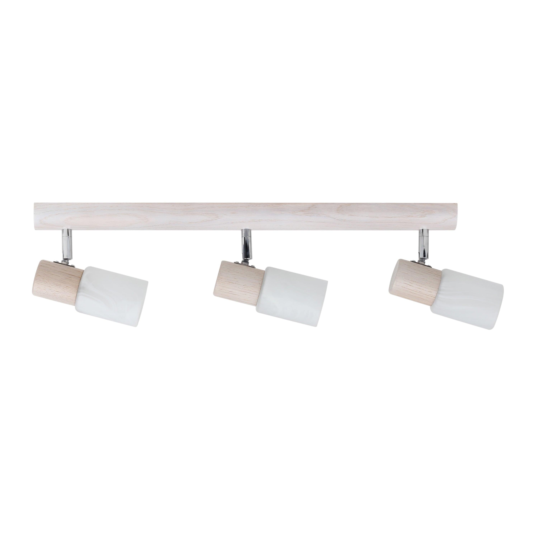 Triple Strip spot Kira Dřevěný dub bělený / chrom / bílý E14 40W