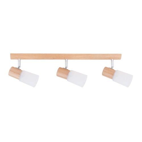 Potrójna Listwa spot Kira Wood dąb/chrom/biały E14 40W