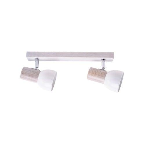 Listwa spot Svenda biały dąb/chrom/biały E27 60W