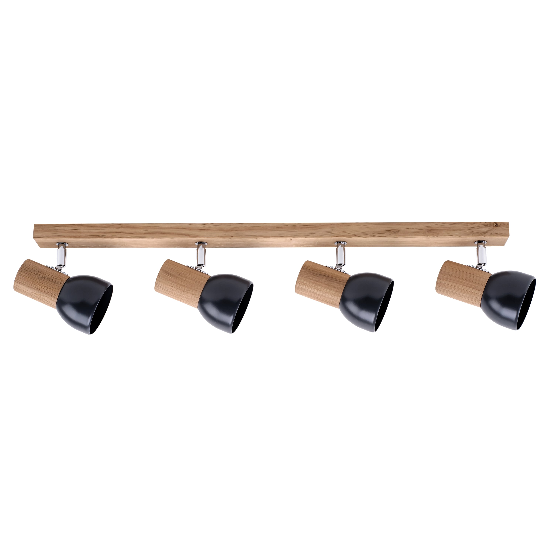 Čtyřnásobný pás Spot Svenda dąb olejowany / chrom / grafit E27 60W