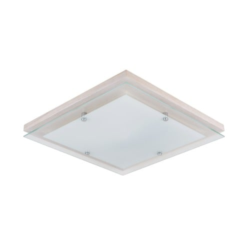 Plafon Finn kwadratowy dąb bielony/chrom/biały LED 24W