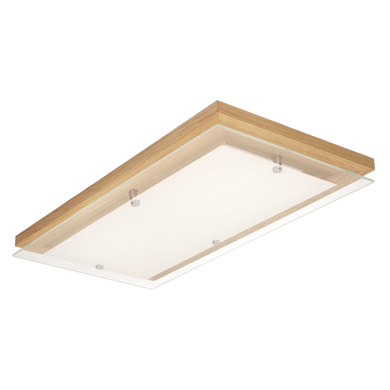 Strop Finský dub / chrom / bílá LED 24W