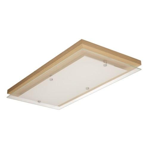 Plafon Finn dąb olejowany/chrom/biały LED 24W Podłużny